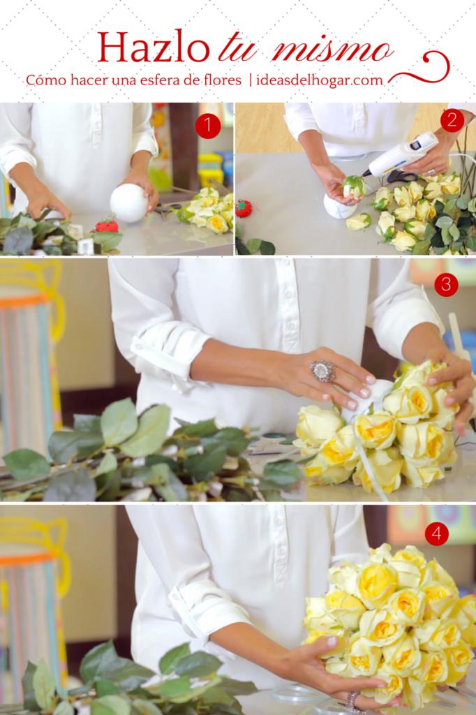 Cómo hacer una esfera colgante de flores
