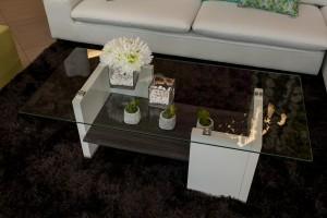 TLI1604 - GEO COFFE TABLE DK. BROWN-WHITE 49- X 24- X 18- (3)